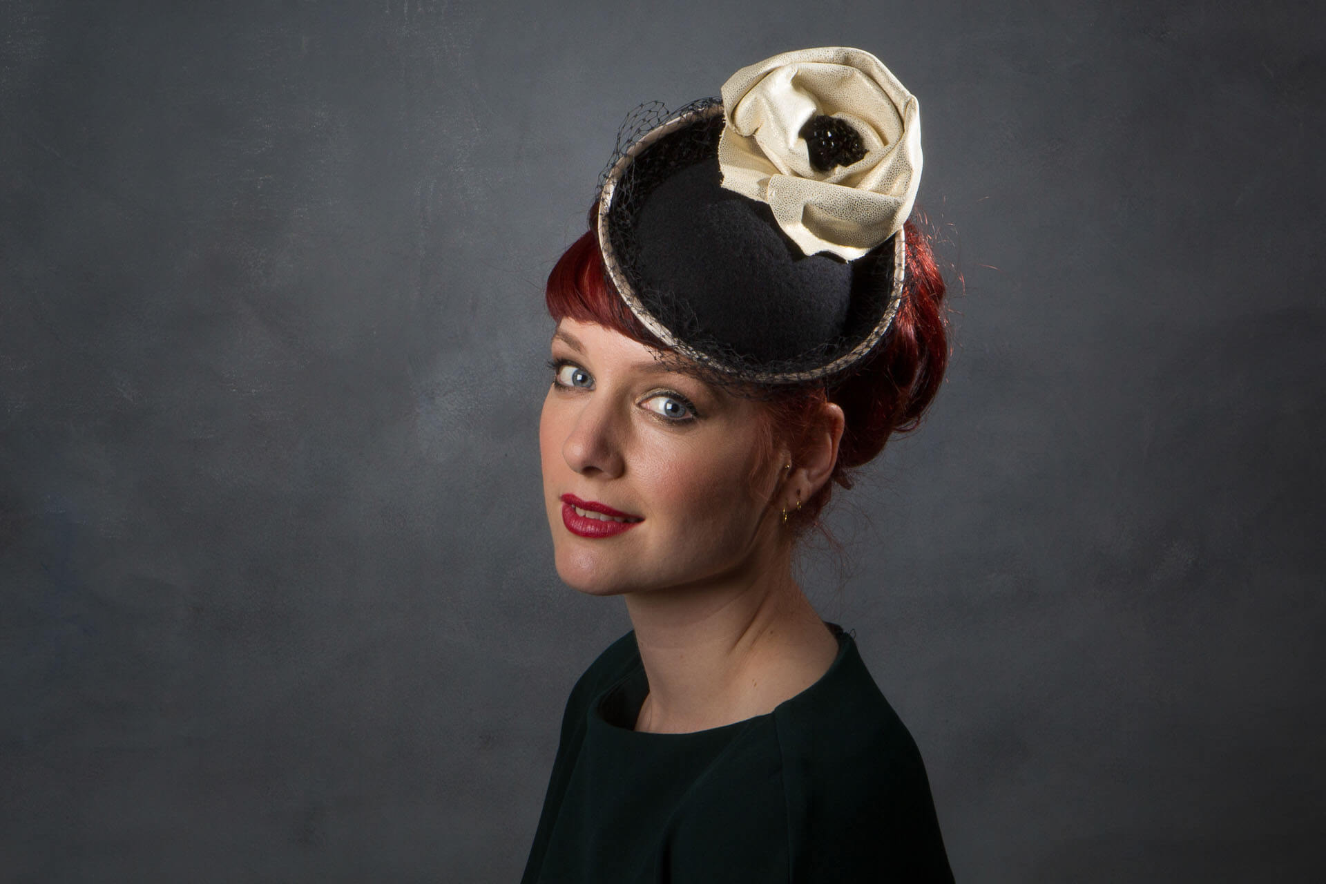 ba4993cfcf2 Felt Burlesque Style Black and Gold Leather Hat