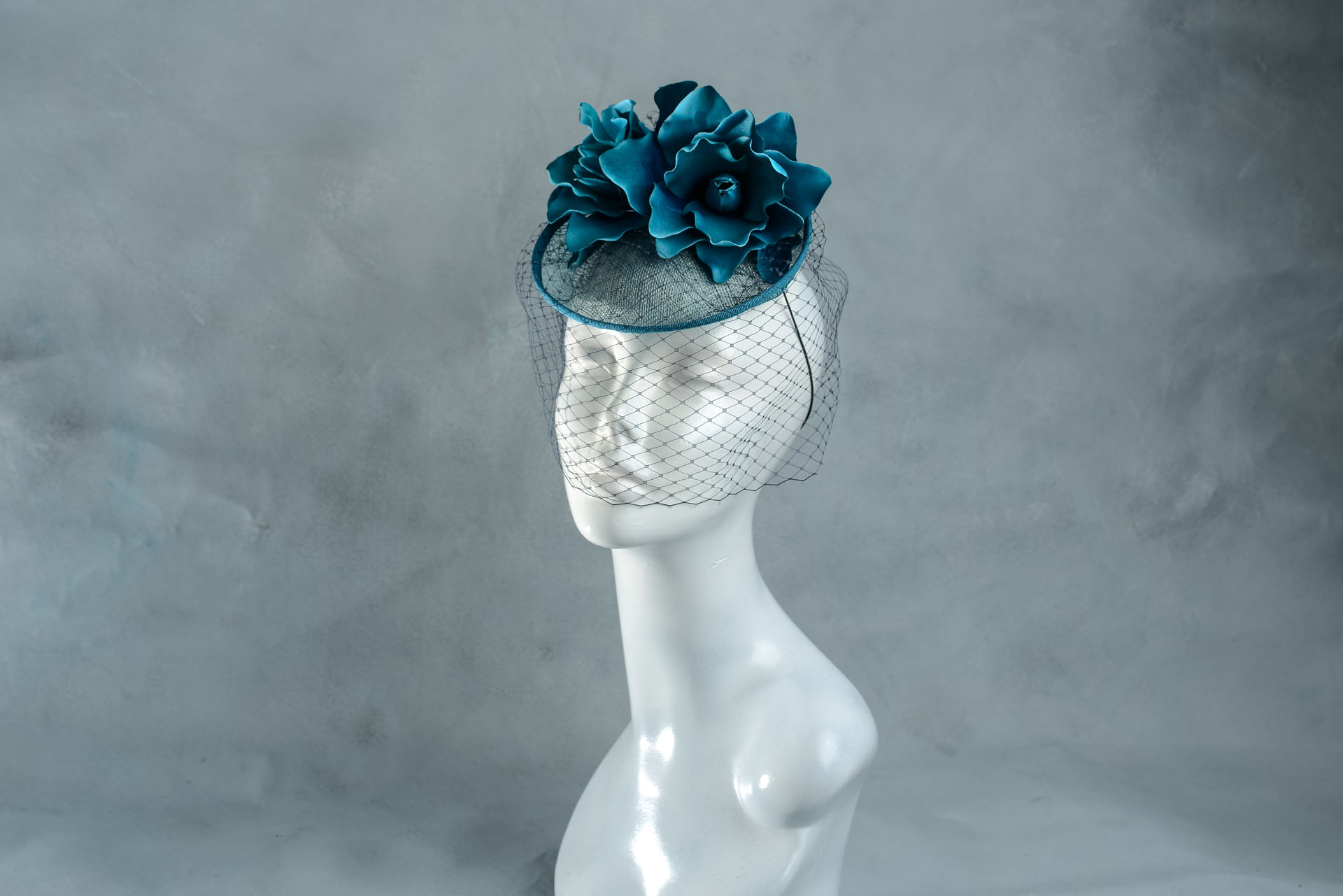 Teal Blue Wedding Hat with Birdcage Veil - Sahar Millinery  59ef412a8ed