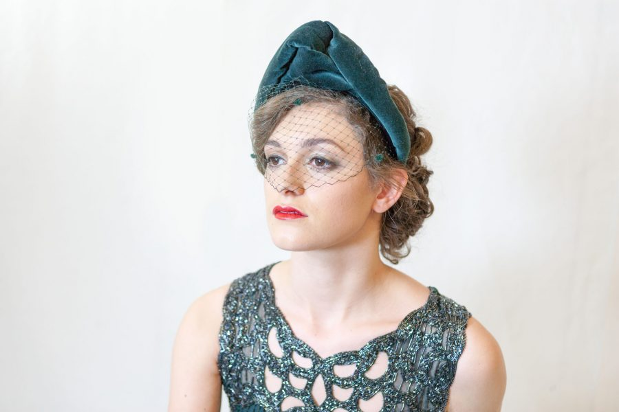 Velvet Turban with Birdcage Veil