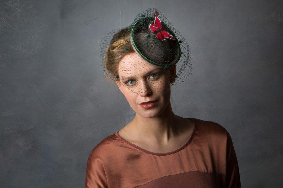 Felt Green Winter wedding Hat