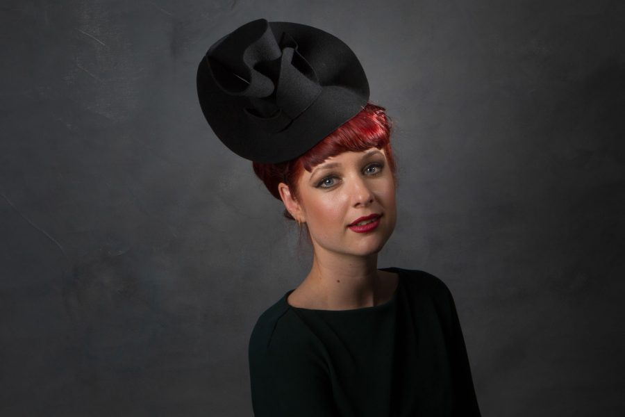 Large Felt Ascot Headpiece, also great for cabarets and standing out from the crowd! This piece was inspired by Sahar's favourite fashion designer Elsa Schiaparelli.