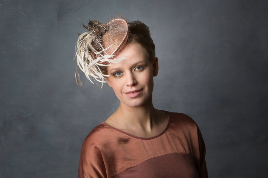 Dusky Pink summer feather Hat