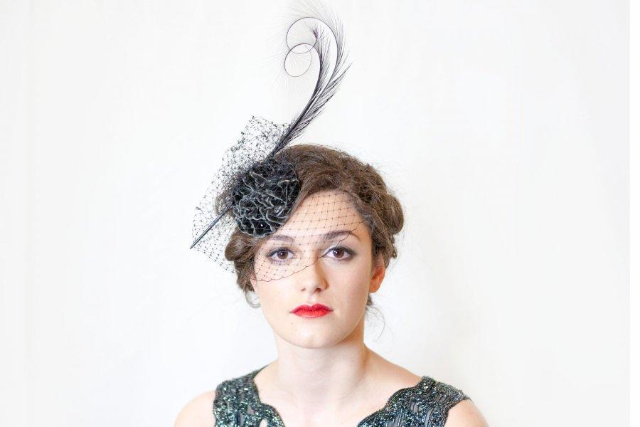 Velvet evening headpiece
