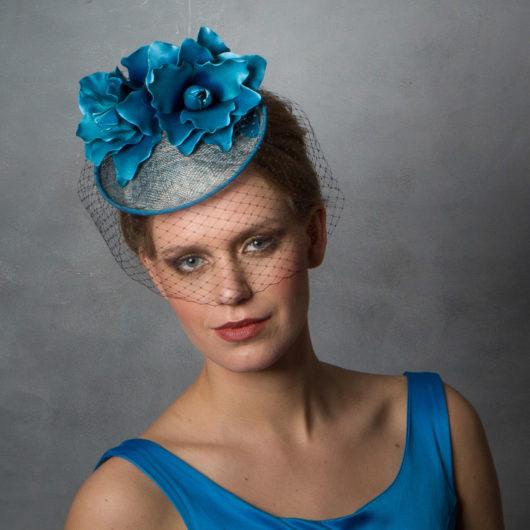 23c00036e6 Teal Blue Wedding Hat with Birdcage Veil