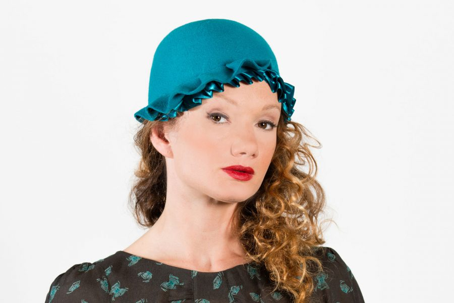 Teal 1920's style cloche hat with ribbon pleating detail