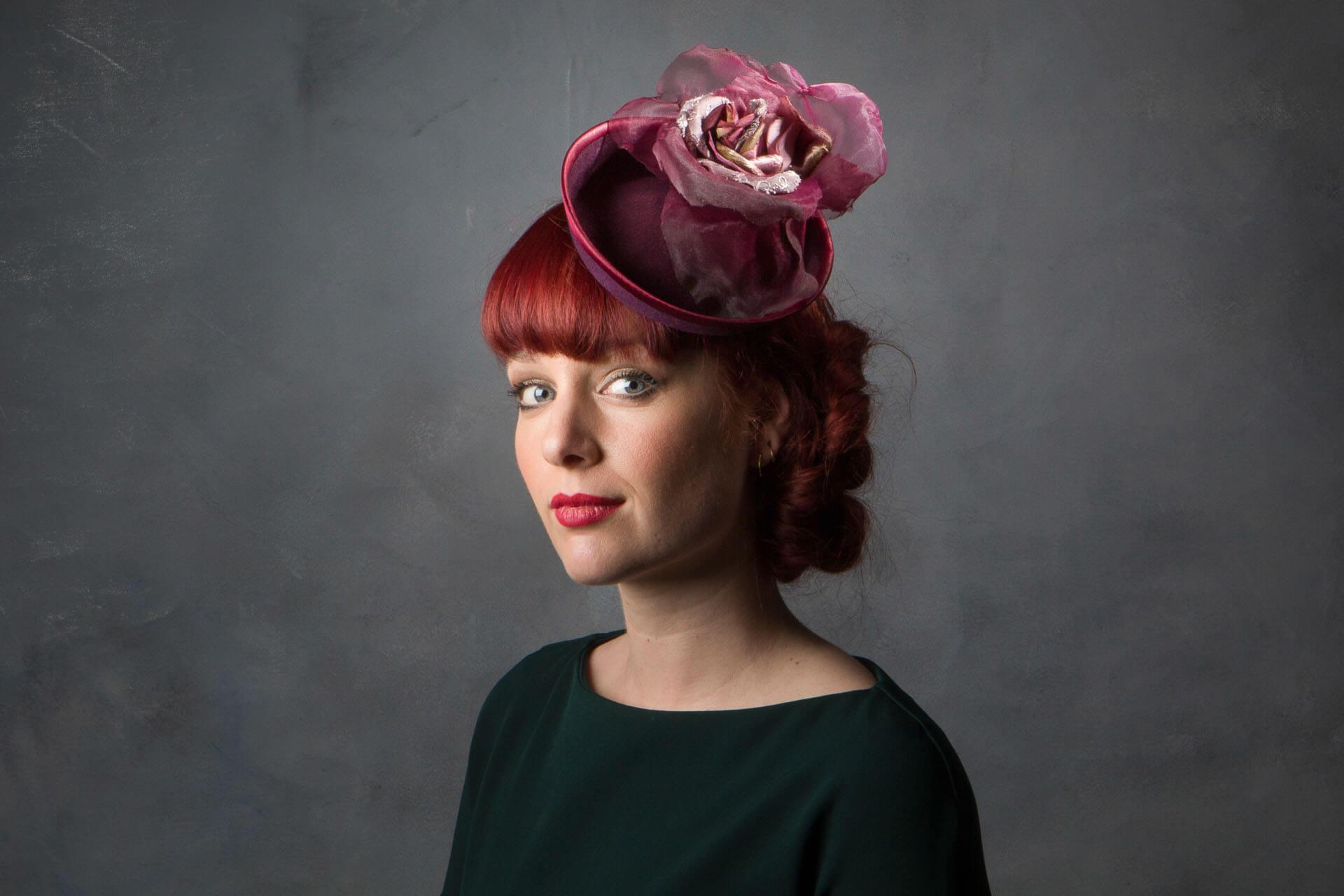 c9b18aea58f Plum Felt Vintage Style Cocktail Hat