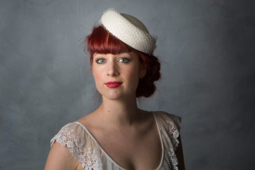 9d7b8cd451851 1950s Style Bridal Pillbox Hat - Sahar Millinery