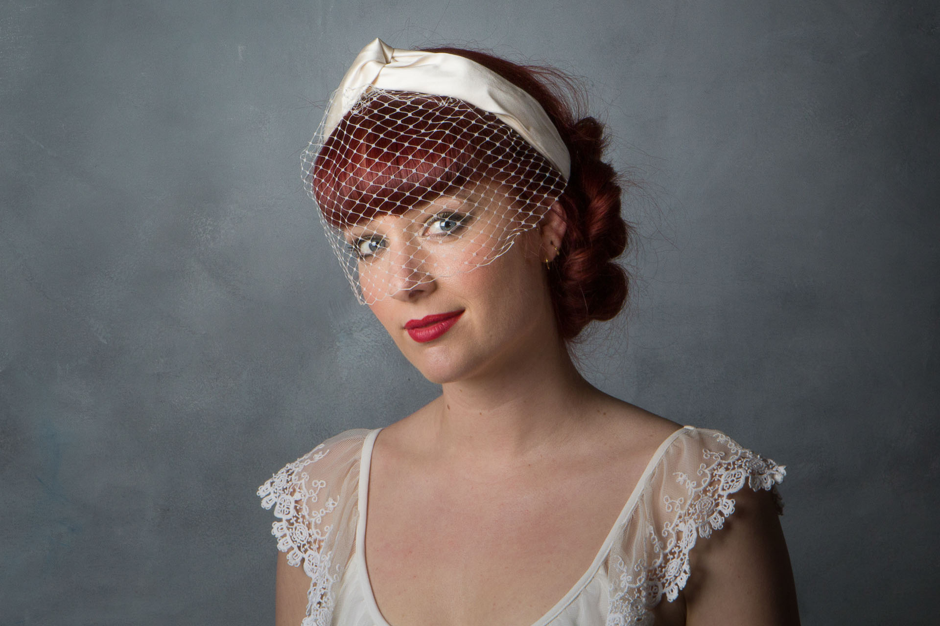 bde1b573117 1950s Style Turban Bridal Headpiece with Birdcage Veil