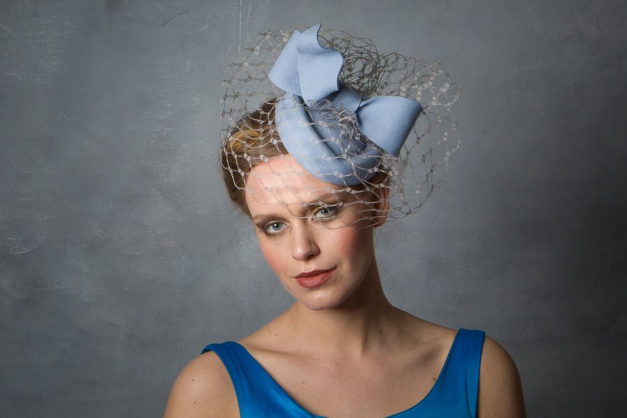Baby Blue Bow Fascinator Percher Hat.