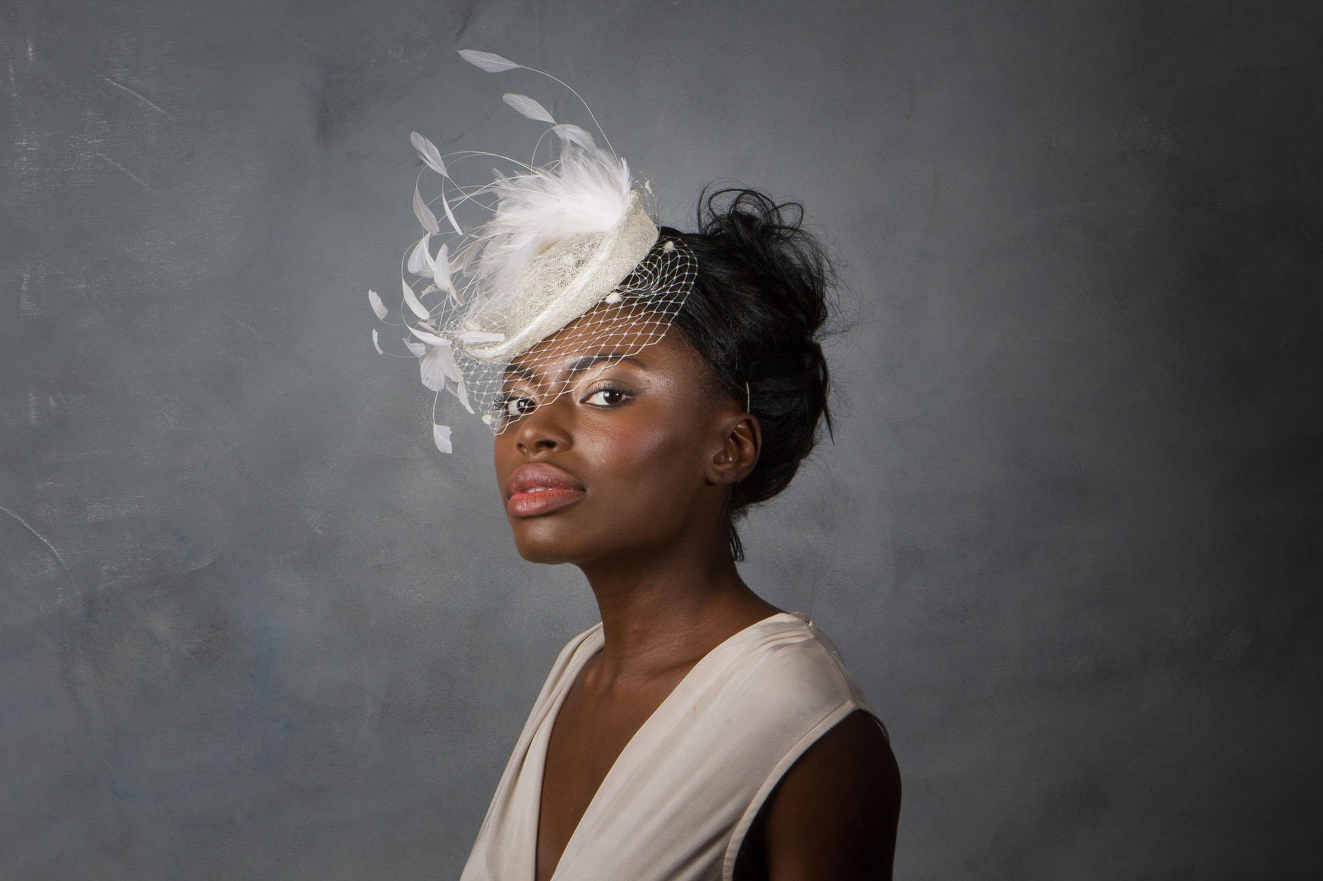 9bf8e1ff468 Bridal Feather Cocktail Hat with Net Veil - Sahar Millinery