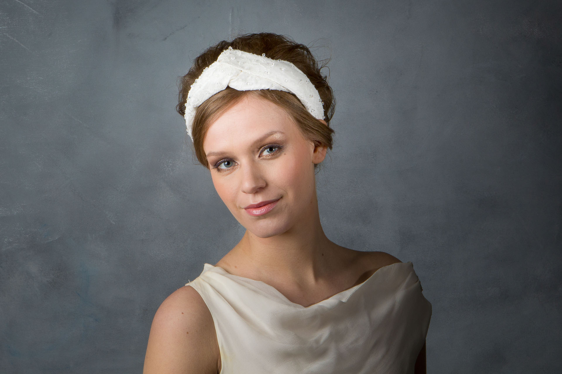 ae2556accfc Chantilly Lace and Silk Turban Style Bridal Headpiece with Swarovski  Crystals