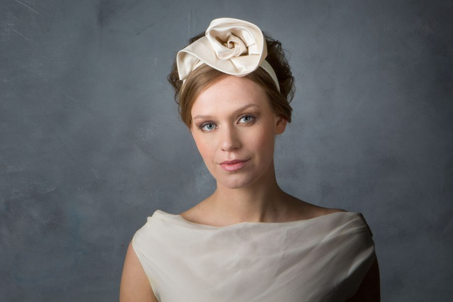 Beautiful medium weight Duchess Silk Satin curled into a rose on a thick sinamay covered alice band