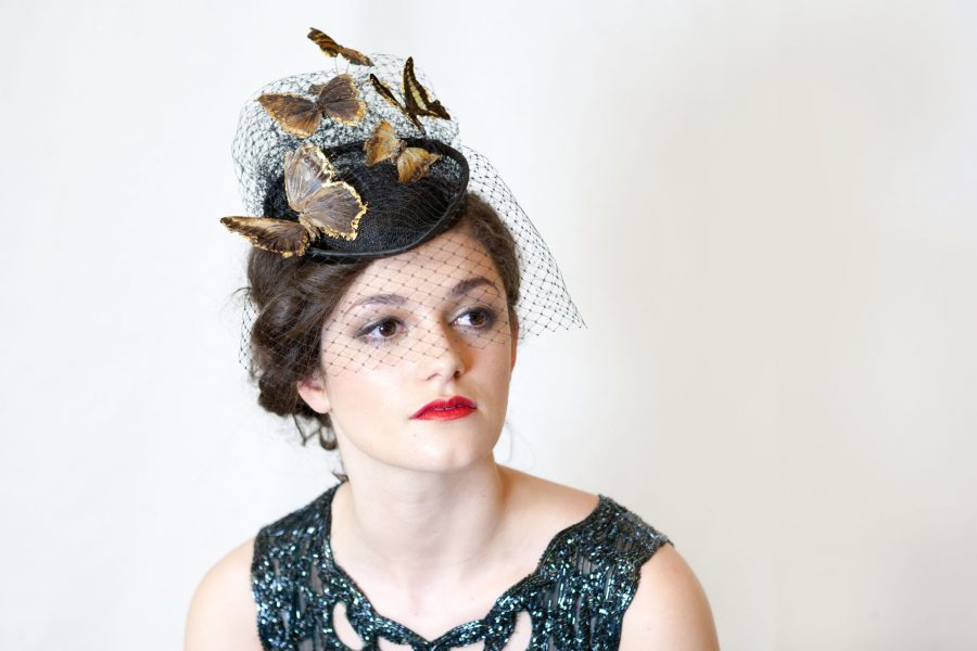 Made from real butterflies which have all died naturally and picked up and preserved with love and care, this sinamay base hat has an abundance of net veil which mounts the butterflies. The butterflies are strengthened and backed in gold leaf for that extra special touch.