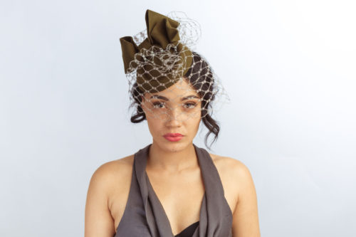 d0e6c812c87 Green bow pillbox hat - Sahar Millinery